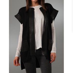 Cut25 Leather Short Sleeve Cardigan Sweater Black